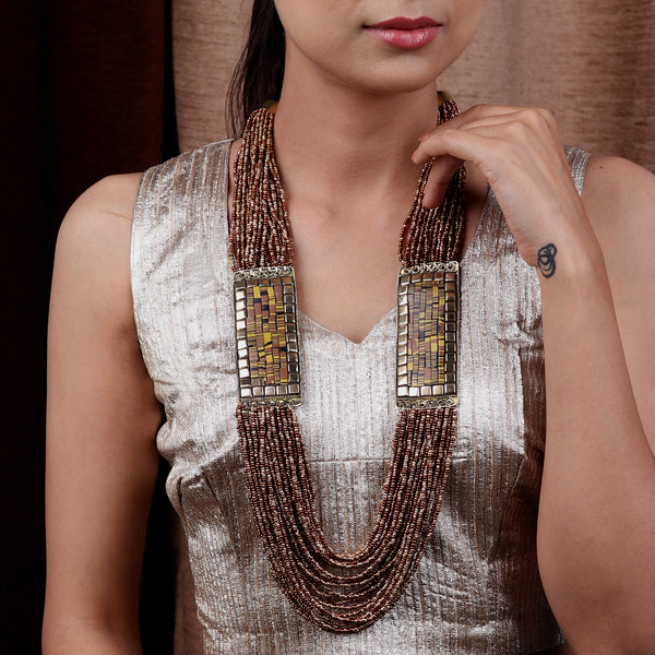 Necklace,The Brown Beaded Necklace with Marble Finish Plates - Cippele Multi Store