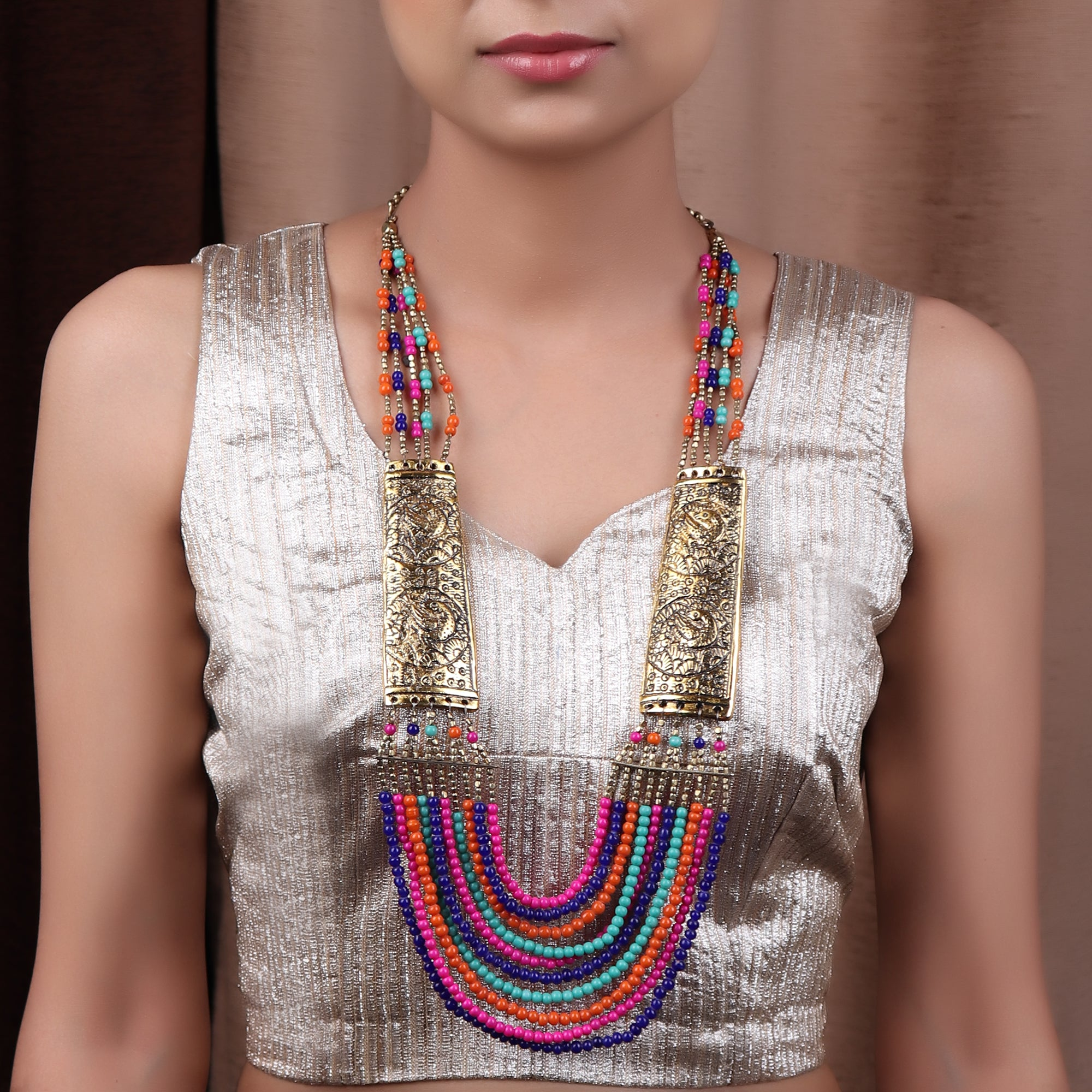 Multicolored Beaded Necklace with Golden Plates