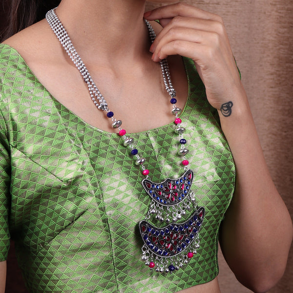 Necklace Set,The layered Moon afghani Necklace set in Blue & Magenta - Cippele Multi Store