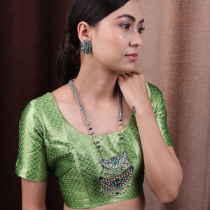 Necklace Set,The layered Moon Afghani Necklace set in Green & Cream - Cippele Multi Store
