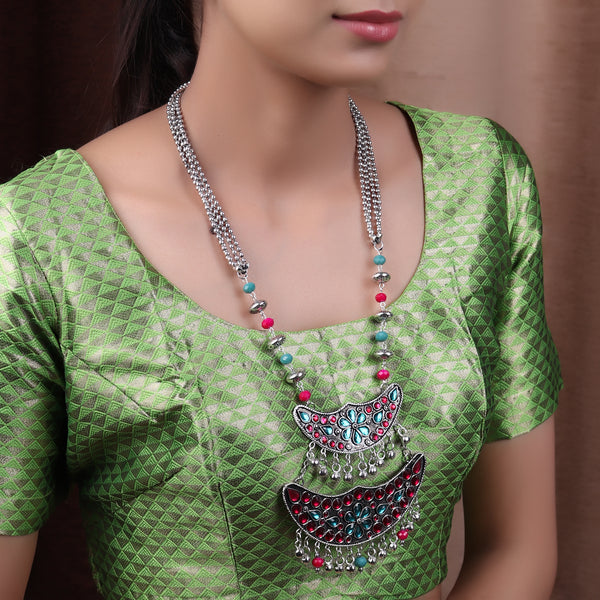 Necklace Set,The layered Moon afghani Necklace set in Turquoise Blue & Magenta - Cippele Multi Store
