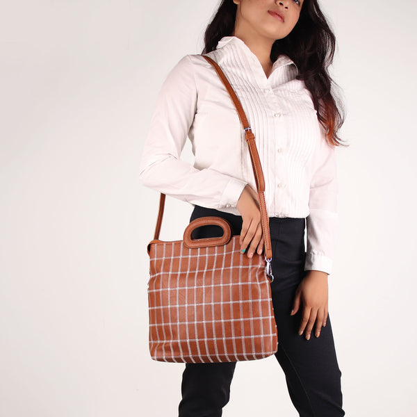 Sling Bag,The seamless Classical checkered Mix Bag in Tan - Cippele Multi Store