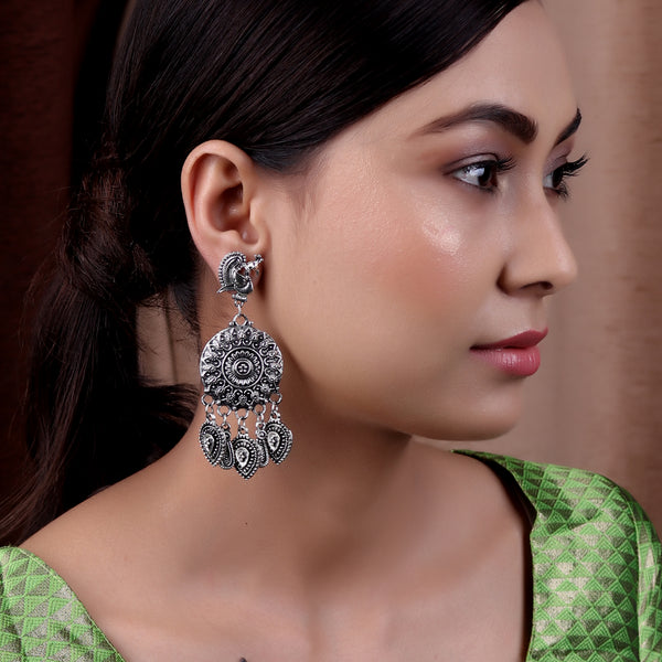 Earrings,The Royal Swan Earring in Oxidized Silver - Cippele Multi Store