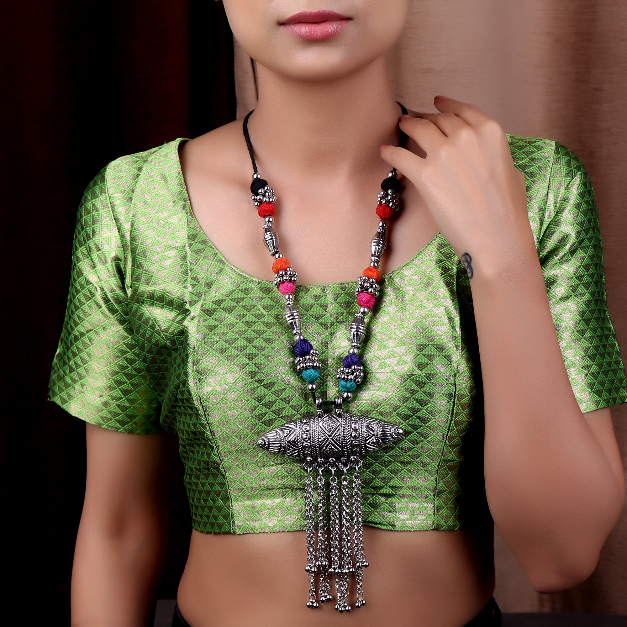 The Assamese Inspired Oxidized Silver Gohona in Multicolor