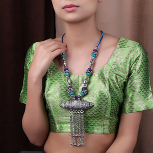 Necklace,The Assamese Inspired Oxidized Silver Gohona in Blue & Green - Cippele Multi Store