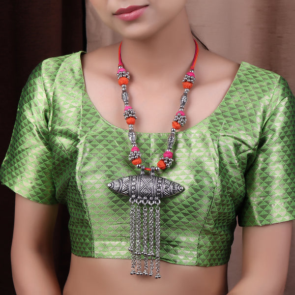 Necklace,The Assamese Inspired Oxidized Silver Gohona in Pink & Orange - Cippele Multi Store