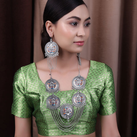 The designer Colorful Peacock Necklace Set in Silver