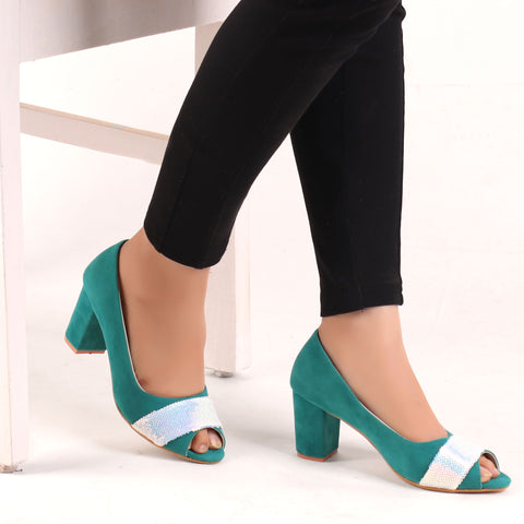 Foot Wear,The Ravishing Fillet Suede Block Heel in Green - Cippele Multi Store