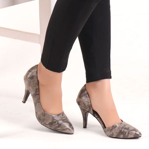 Foot Wear,The Awe-inspiring Snake Printed D'Orsay Pumps in Grey - Cippele Multi Store