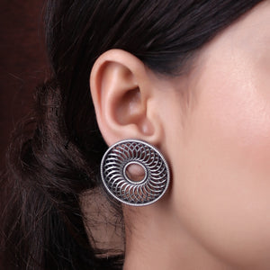 Earrings,Magic Sun German Silver Stud (Silver Look Alike) - Cippele Multi Store