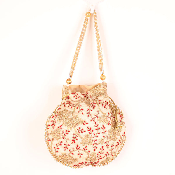 Potli,The Golden Amulet off White Potli - Cippele Multi Store
