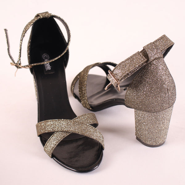 Foot Wear,The Alternating Jump wave Block heel in Glitter - Cippele Multi Store