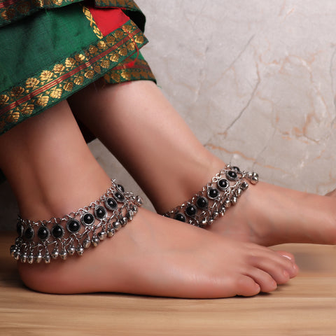 The Festivity Anklet in Black (Pair of 2)