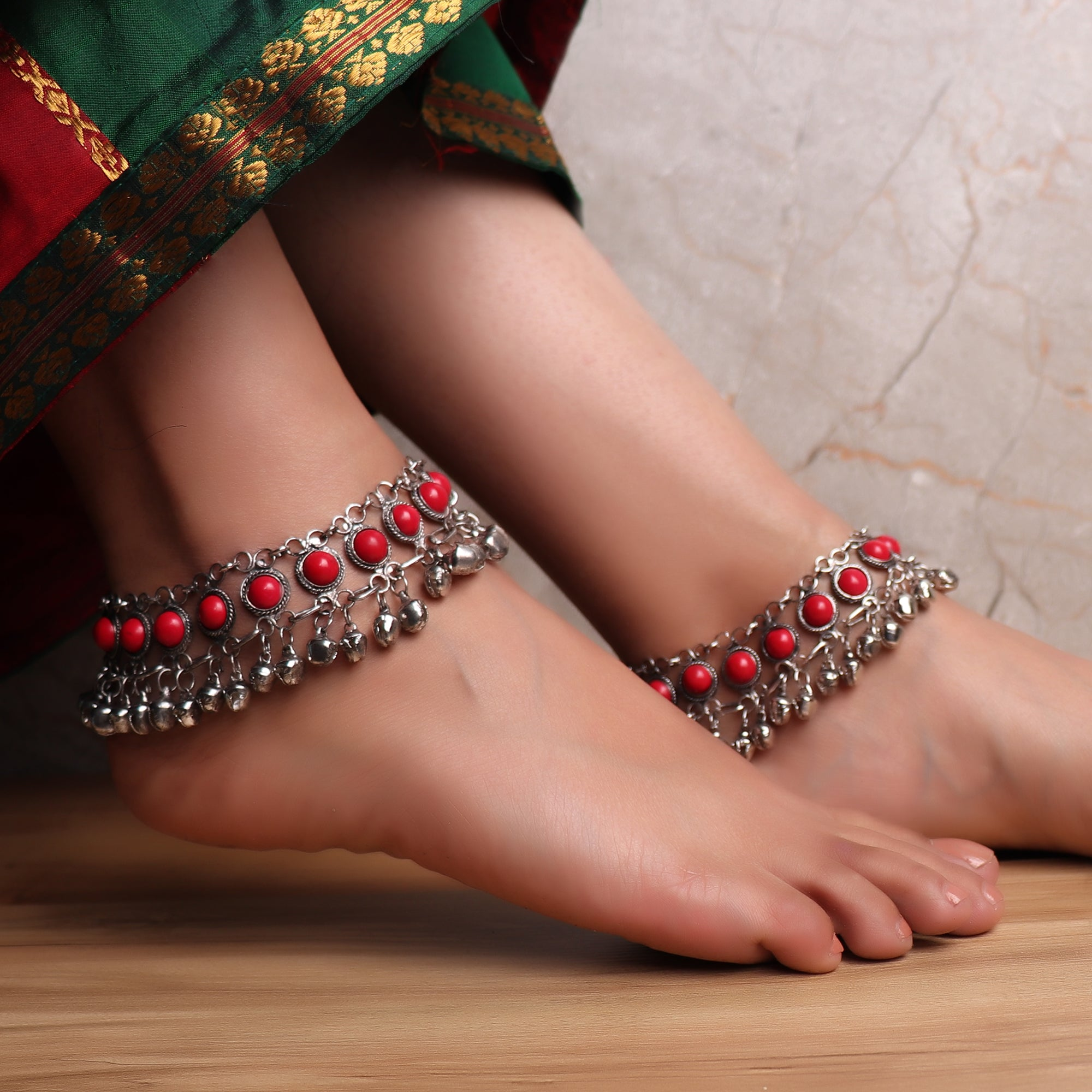 Anklet,The Festivity Anklet in Red (Pair of 2) - Cippele Multi Store