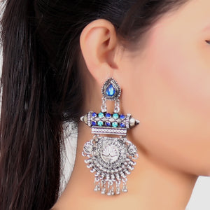 Earrings,Lotus Heart Earrings With Blue And  Indigo Rhinestones - Cippele Multi Store