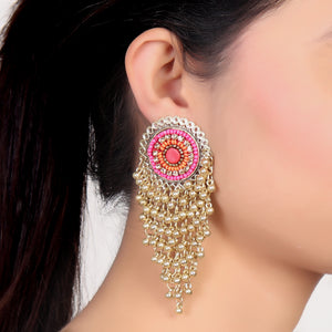 Earrings,Bunch of Happiness Pink and Orange Earrings in Golden hue - Cippele Multi Store