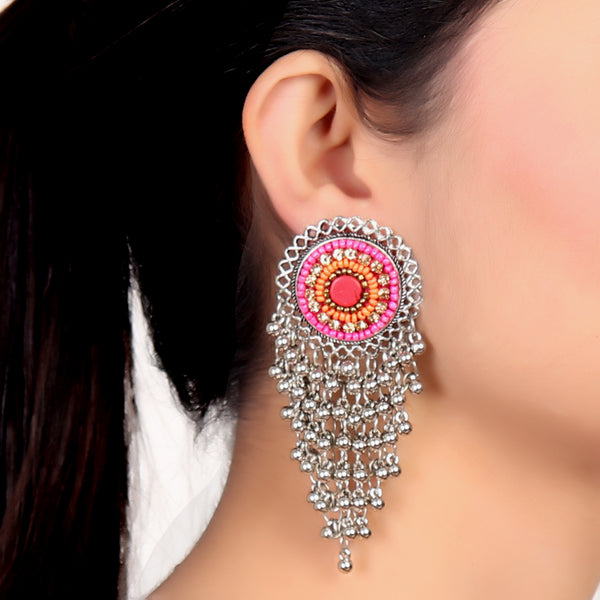 Earrings,Bunch of Happiness Pink and Orange Earrings in Silver - Cippele Multi Store
