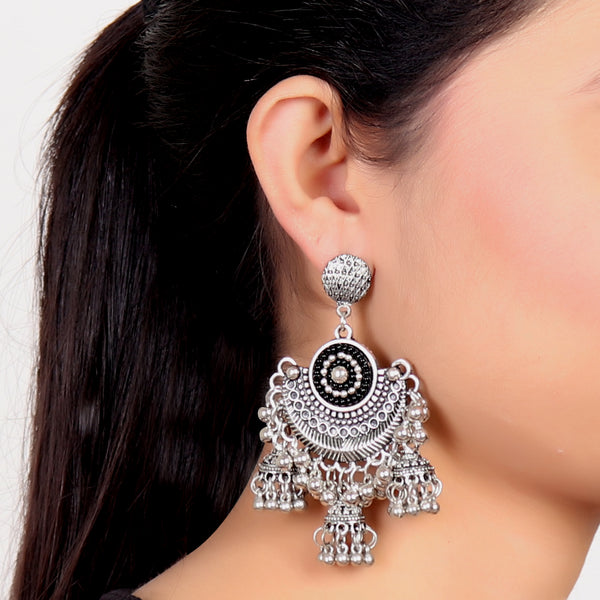 Earrings,Oxidized Triple Jhoomer Earrings - Cippele Multi Store