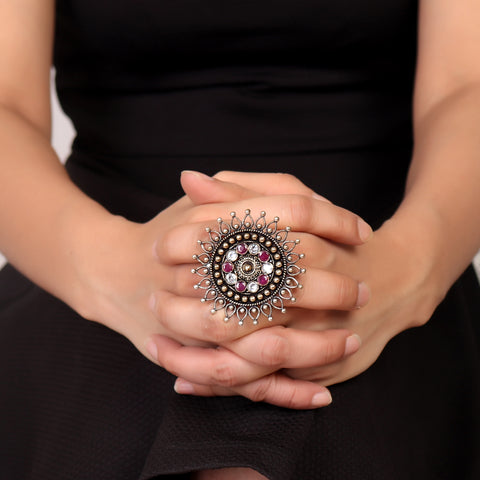 Ring,Bold Flower German Silver Ring in Ruby & White - Cippele Multi Store