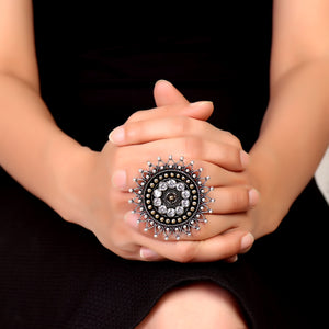 Ring,Bold Flower German Silver Ring in White - Cippele Multi Store