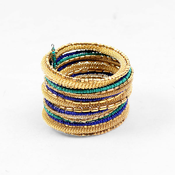 Hand Cuff,Hues of Blue Beaded Bangle Set in Golden - Cippele Multi Store