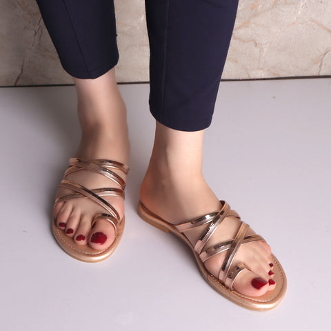 Foot Wear,The Chirpy Crisscross Flats in Copper - Cippele Multi Store