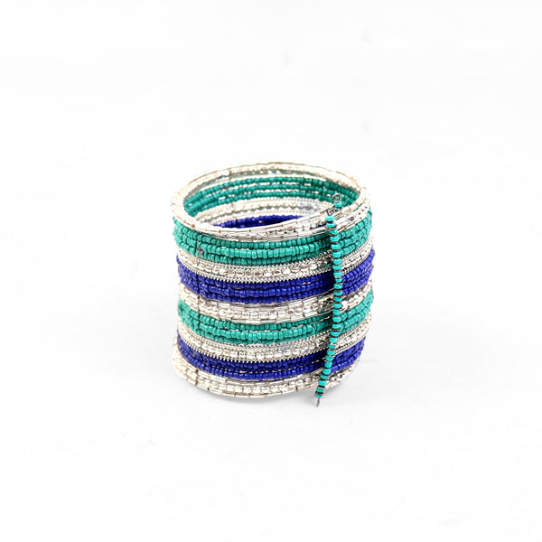 Hand Cuff,Hues of Blue Beaded Bangle Set in Silver - Cippele Multi Store
