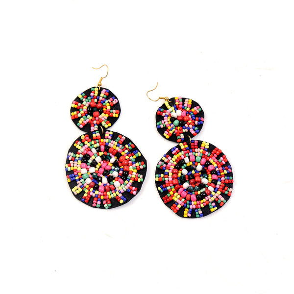 Earrings,Beads on Black Earrings - Cippele Multi Store