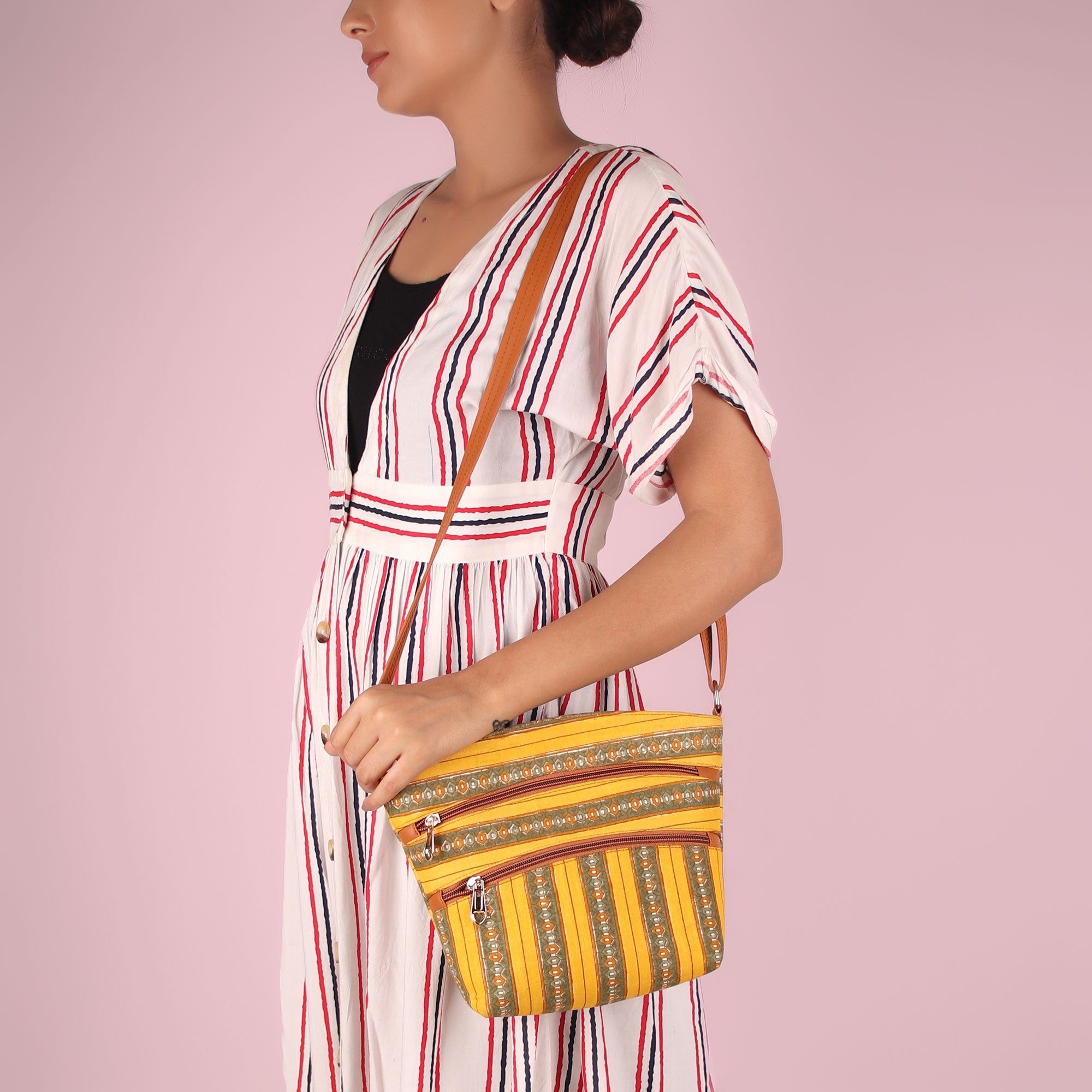 Sling Bag,The Oval Stripes Asymmetrical Sling Bag - Cippele Multi Store