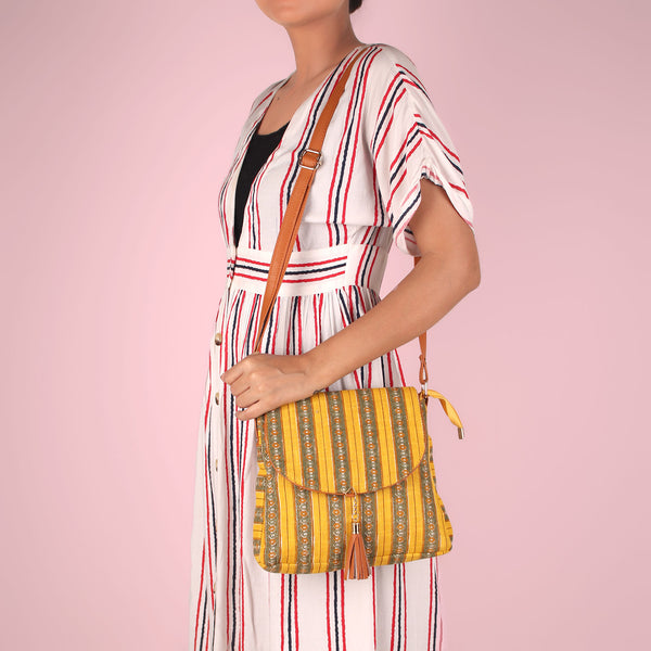 Sling Bag,The oval stripes Tassel Sling Bag - Cippele Multi Store