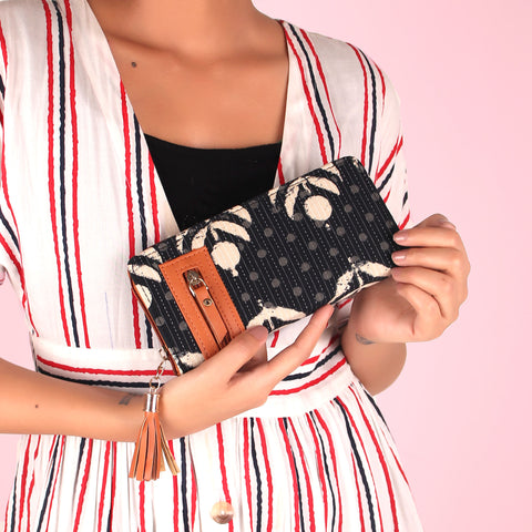 Wallet,The Poppy Black Tassel Wallet - Cippele Multi Store