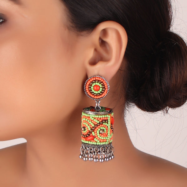 Earrings,The Sea Bed Earrings in Orange and Green - Cippele Multi Store