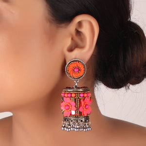 Earrings,The Ecstasy Flower Earring in shades of Pink & Orange - Cippele Multi Store