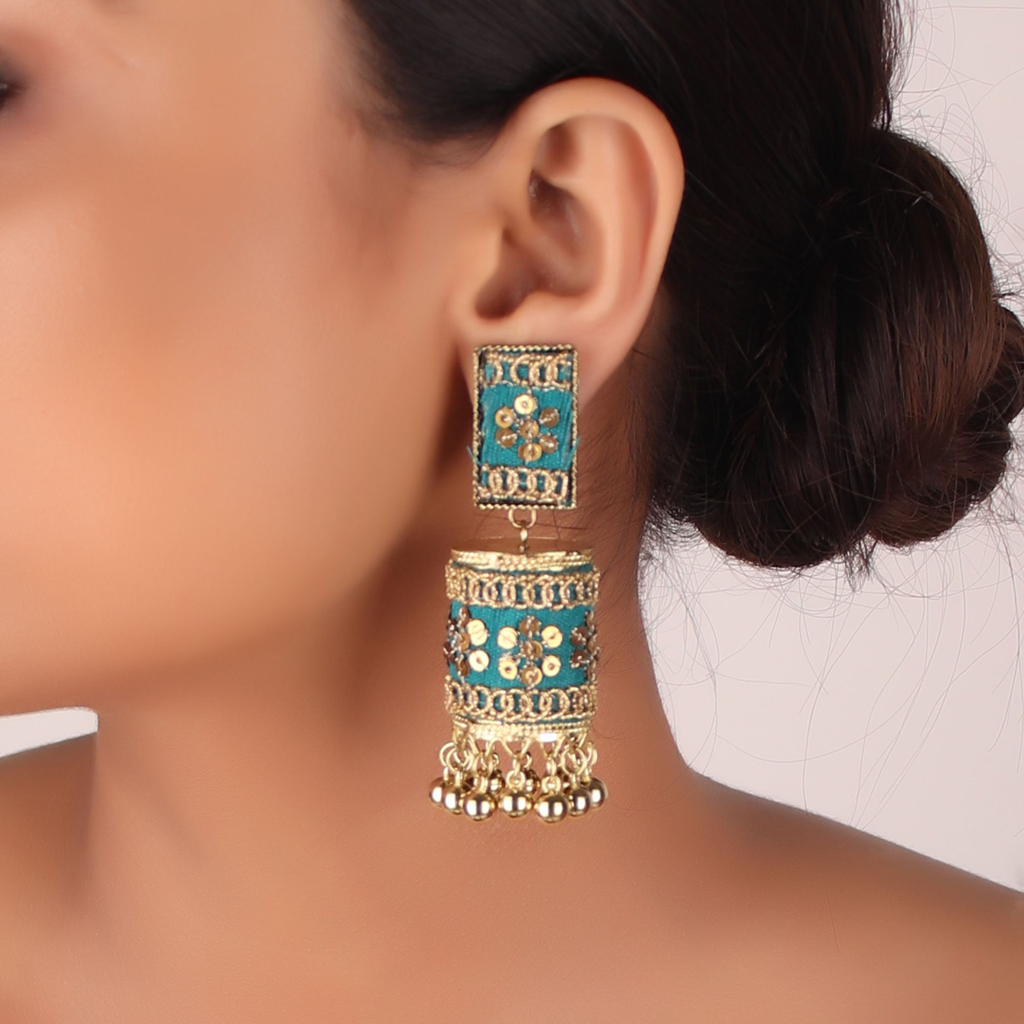 Earrings,The Nizam's Chumki Jhoomar Earring in Green - Cippele Multi Store