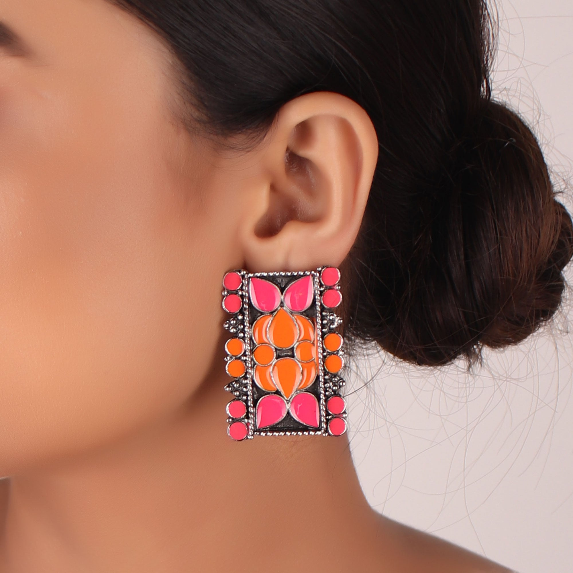 The Rectangular Prism Earrings in Pink & Orange