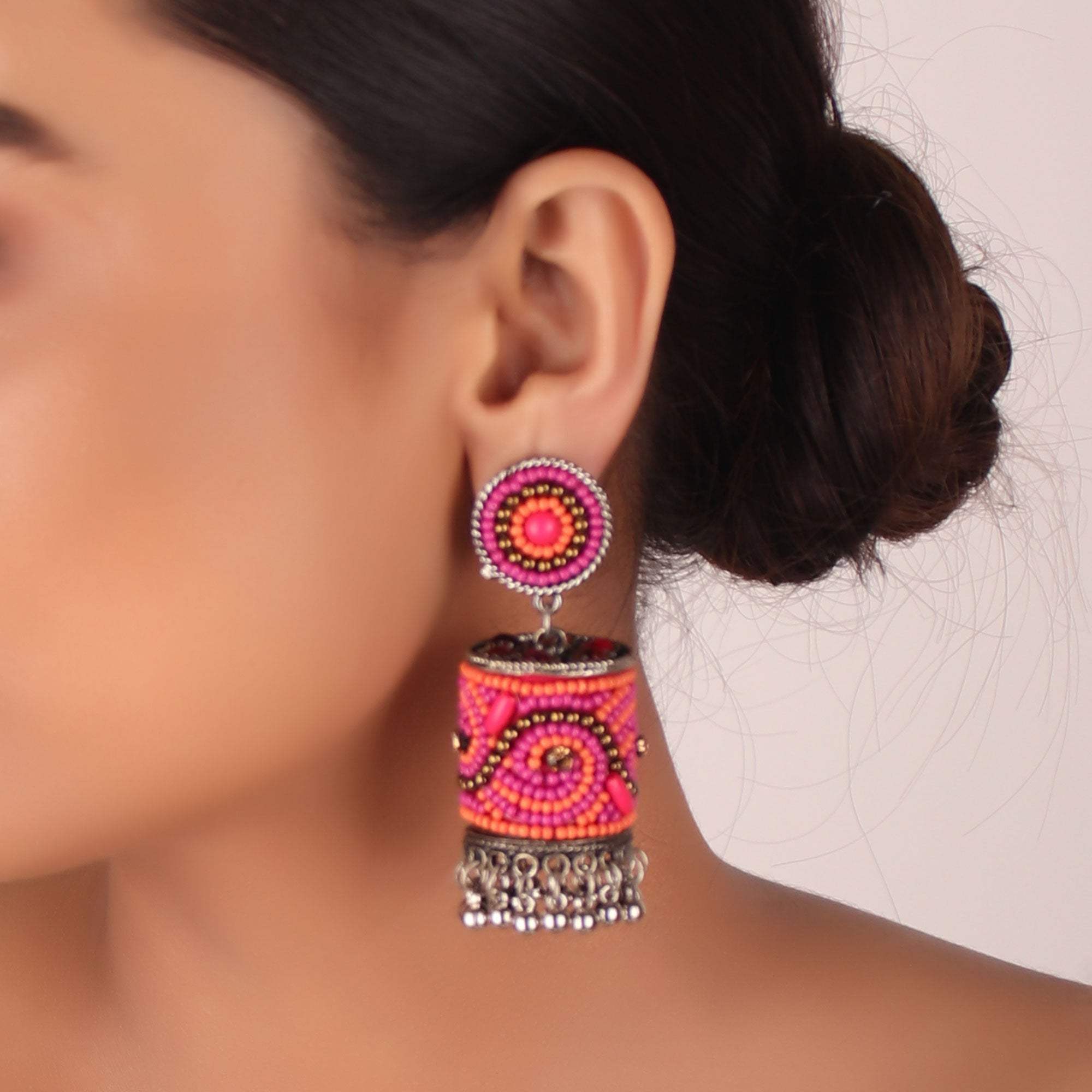 Earrings,The Sea Bed Earrings in Pink and Orange - Cippele Multi Store