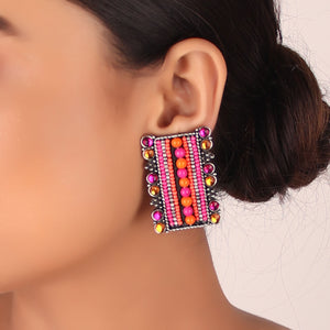 Earrings,The Wonka Dazzles Candy Earring in Pink & Orange - Cippele Multi Store