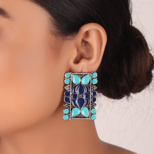 Earrings,The Rectangular Prism Earrings in shades of Blue - Cippele Multi Store