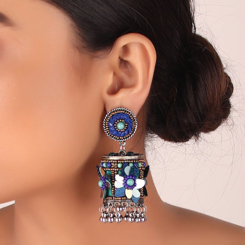 Earrings,The Ecstasy Flower Earring in shades of Blue - Cippele Multi Store