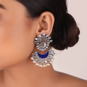 Earrings,The Nataraj Peacock Earring with Pinch of Blue - Cippele Multi Store