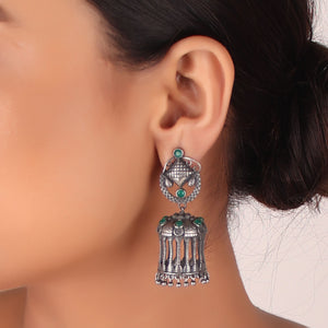 Earrings,The Jordanian Petra Brass Earring with Green Stone - Cippele Multi Store