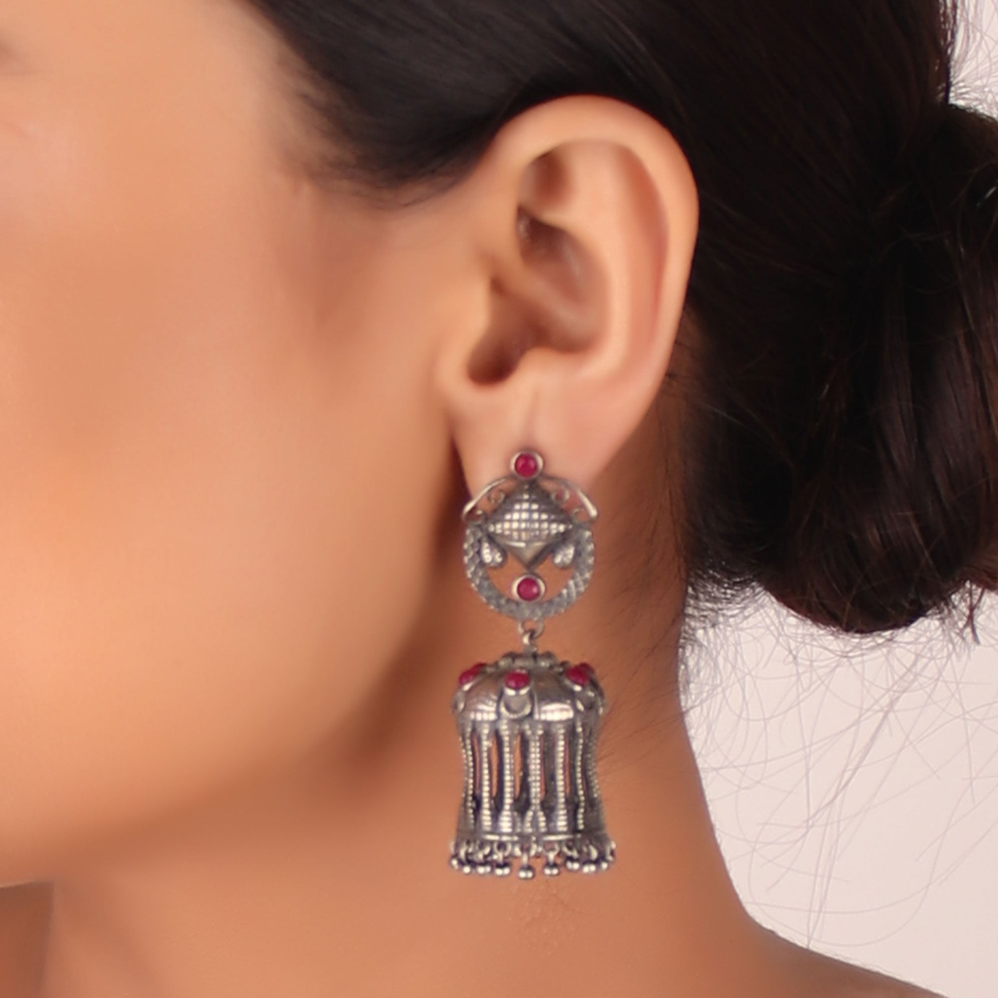 The Jordanian Petra Brass Earrings with Red Stone