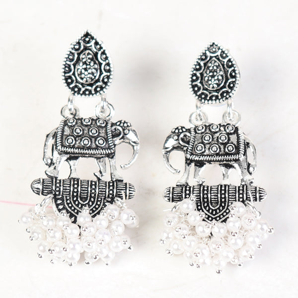 Earrings,Elephanta Earrings in Oxidized Silver - Cippele Multi Store
