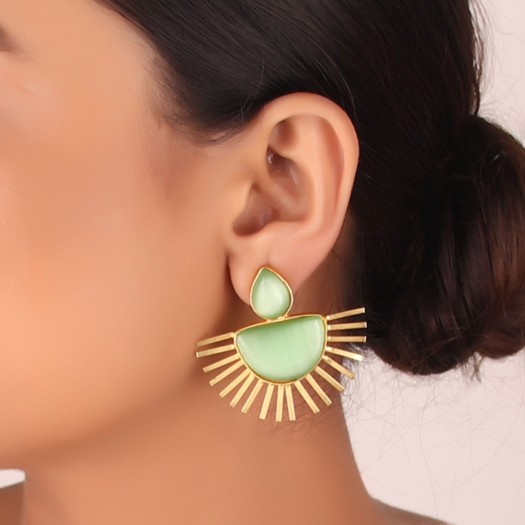 Earrings,The Rising Golden Diya - Cippele Multi Store