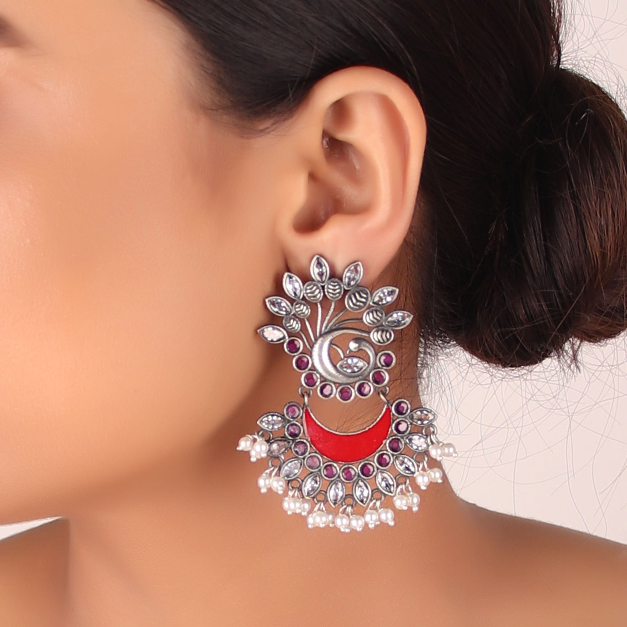 Earrings,The Nataraj Peacock Earring with Pinch of Red - Cippele Multi Store