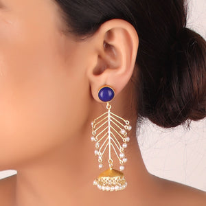 Earrings,The Elite Golden Fern Earrings with Blue Stone - Cippele Multi Store