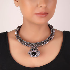 Necklace,The Beaded Jhoomar Choker - Cippele Multi Store