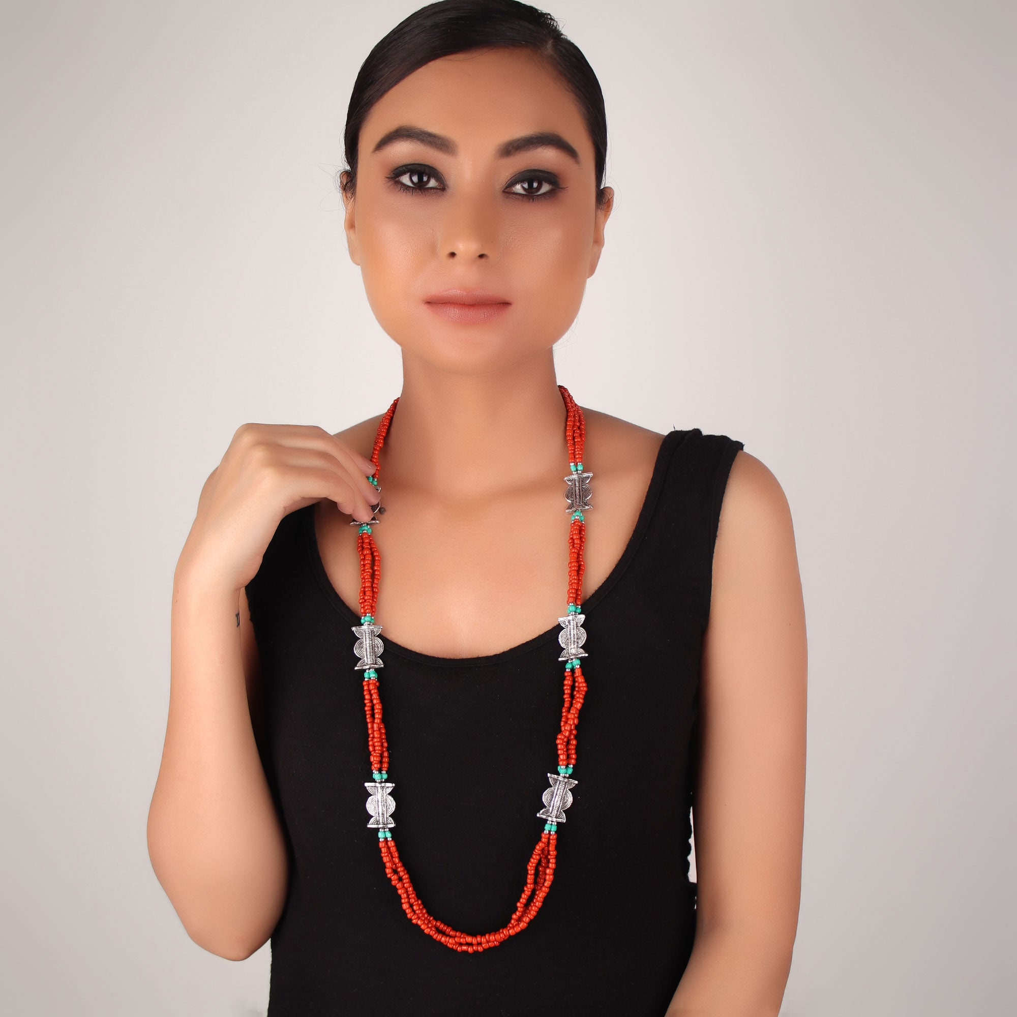Necklace,The Beaded Lamp Necklace in Red - Cippele Multi Store