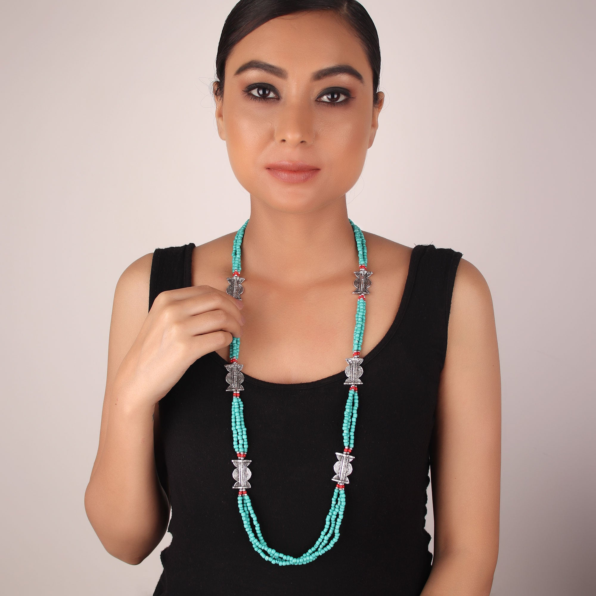 Necklace,The Beaded Lamp Necklace in Green - Cippele Multi Store