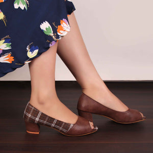 Foot Wear,The Classy Checks Block Heels - Cippele Multi Store